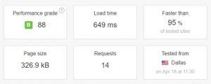 SiteGround速度測試結果2