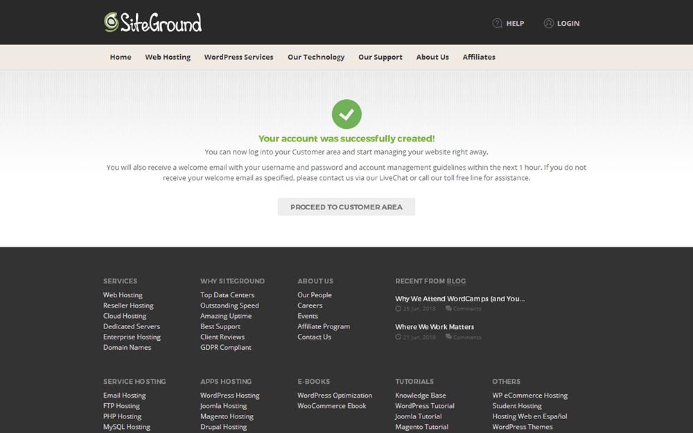 siteground-註冊完成